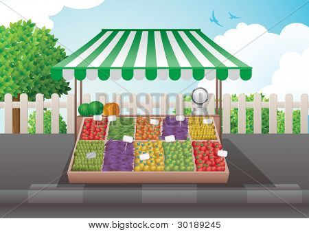 Fruit and vegetable stall vector illustration. Elements are layered separately.