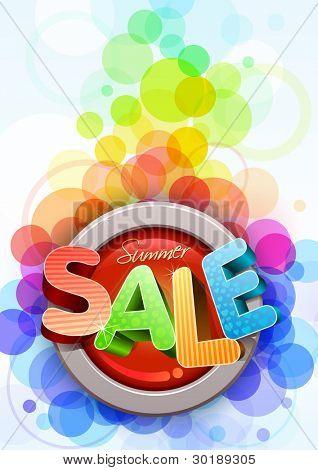 Vector 3d zomer poster verkoop ontwerpsjabloon.