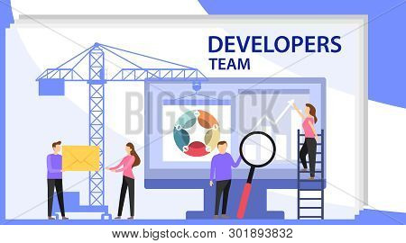 Engineer Team At Project Development, Template For Developer. App Development And Startup Concept. L