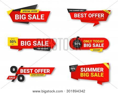 Set Of Sale Tags. Sale, Discount And Special Offer, Colorful Banners. Collection Of Discount Label,