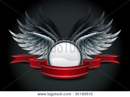 Highly detailed vector wings and banner illustration. Elements are layered separately in vector file. Easy editable.
