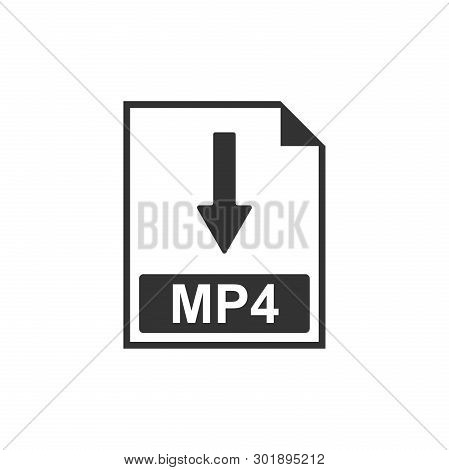 Mp4 File Document Icon. Download Mp4 Button Icon Isolated. Flat Design. Vector Illustration