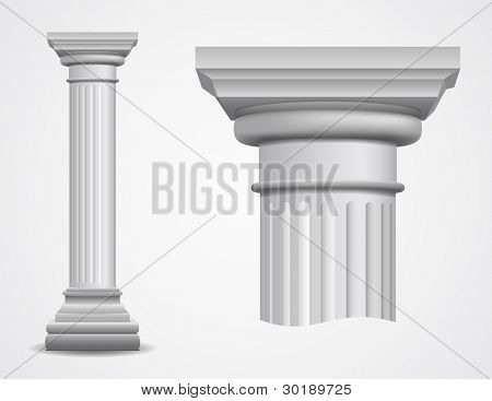 Vector illustration of ancient column. poster