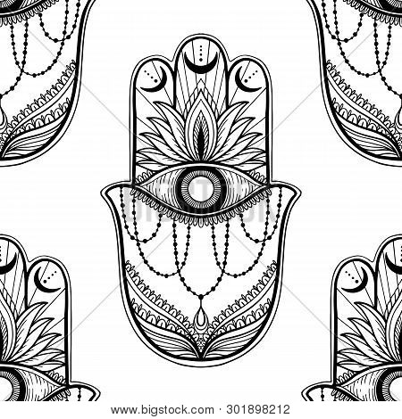 Seamless Pattern Hamsa Talisman Religion Asian. Black Color Graphic In White Background. Symbol Of P