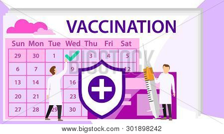 Vaccination Concept. Doctor With Vaccine In Syringe. Time To Vaccinate. Vector Illustration Syringe