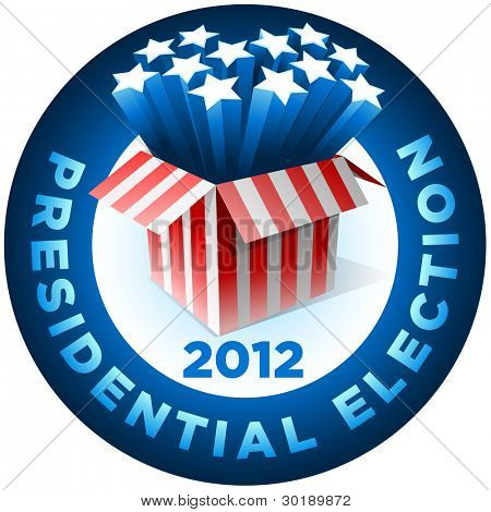 Presidential Election Badge . Exploding American star box. All elements are layered in vector file.