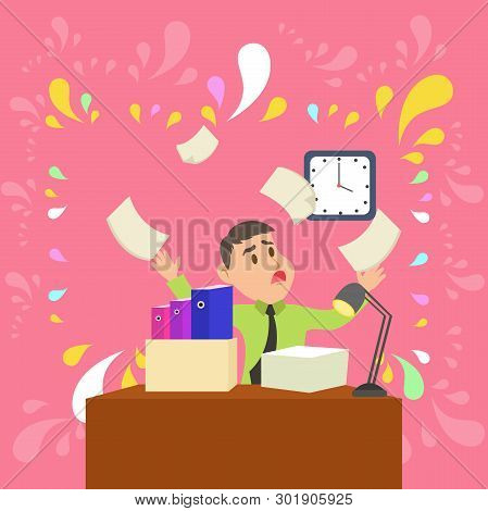 Confused Male Office Worker Sitting at Desktop Cluttered with File Folders and Ream of Paper Looking at Wall Clock and Understanding He Fails to Meet Deadline poster