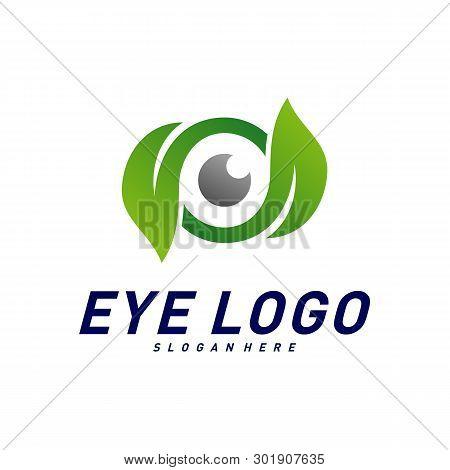 Nature Eye Logo Design Concept Vector, Eye With Leaf Logo Template, Icon Symbol