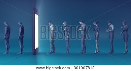 Technological Zombies with People Immersed in their Mobile Phones 3D Render
