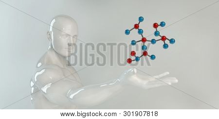 Man Holding Molecule Science Research and Development 3D Render