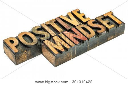 positive mindset  - isolated word abstract in vintage letterpress wood type blocks