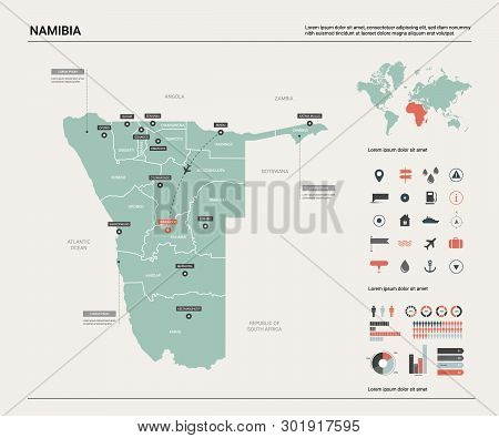 Vector Map Of Namibia. Country Map With Division, Cities And Capital Windhoek. Political Map,  World