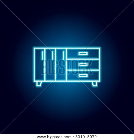 dresser icon in neon style. Element of furniture for mobile concept and web apps. Thin line  icon for website design and development, app development poster