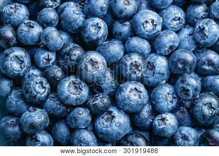 Washed blueberries background. Full Frame Shot Of Freshly Washed Blueberries.