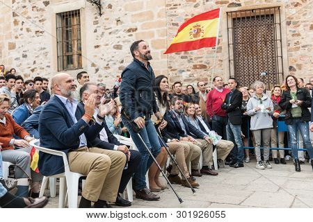 The Leader Of The Far-right Vox Party, Santiago Abascal, During The Rally Of His Party Held In The P