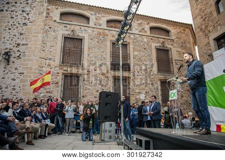 Caceres, Extremadura, Spain - May  18, 2019:  The Leader Of The Far-right Party Vox, Santiago Abasca