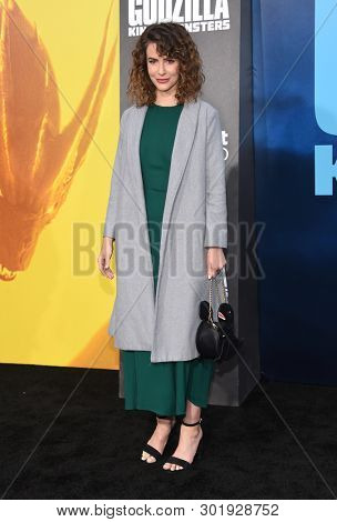 LOS ANGELES - MAY 18:  Linsey Godfrey arrives for the 'Godzilla: King of the Monstersl' Hollywood Premiere on May 18, 2019 in Hollywood, CA