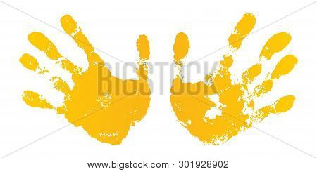 Hand Paint Print Set, Isolated White Background. Yellow Human Palm, Fingers. Abstract Art Design, Sy