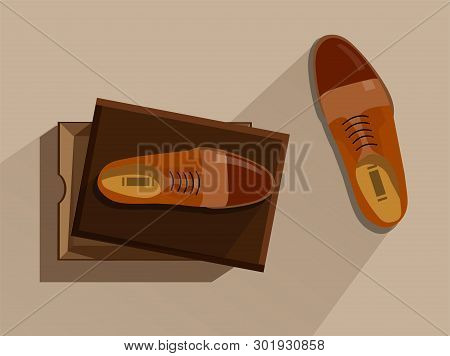 Shoes In Box. Fashion Footwear. Concept Vector Brown Footgear Top View In A Cardboard Box In Flat St