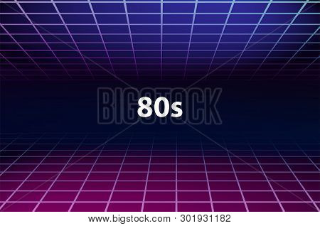Retro Futuristic Background 1980s. 80s Sci-fi Background. Bright Abstract Retro Futuristic Grid Land