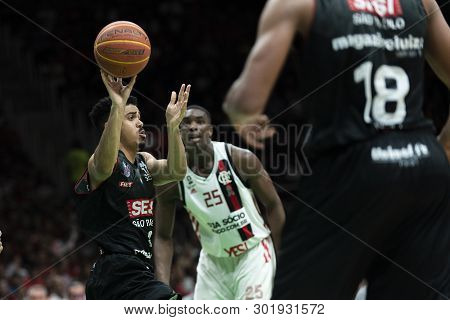 Rio, Brazil - May 19, 2019:  Flamengo Vs. Franca For The First Play-off Of The Final Of The New Bask