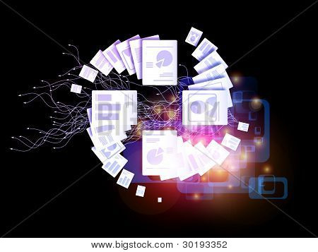 Interplay of document symbols abstract forms lights and colors on the subject of document processing paperwork and office work-flow poster