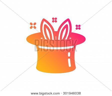 Hat-trick Icon. Magic Tricks With Hat And Rabbit Sign. Illusionist Show Symbol. Classic Flat Style.