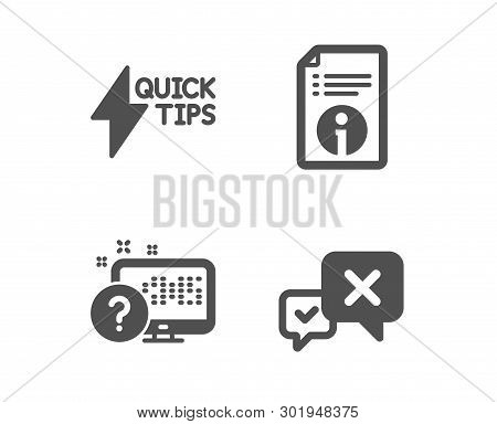 Set Of Quickstart Guide, Technical Info And Online Quiz Icons. Reject Sign. Lightning Symbol, Docume