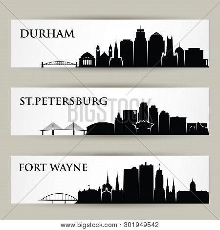 United States Of America Cities Skylines - Druham, St. Petersburg, Fort Wayne - Usa North Carolina,