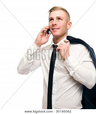 Casual Young Businessman Talking On Cellphone.