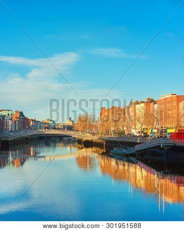 Dublin, Panoramic Image Of Half Penny Or Ha'penny Bridge