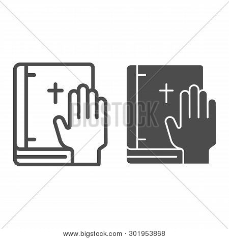 Oath On Bible Line And Glyph Icon. Swearing On Book Vector Illustration Isolated On White. Honest Ou