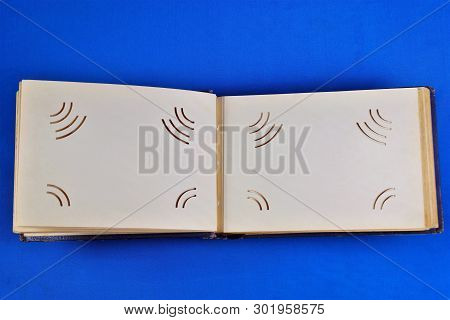 Vintage Photo Album, On A Creative Blue Background, A Frame For A Photo Of The Same Format, With A N