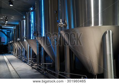 Craft Beer Production In Private Brewery, Close-up