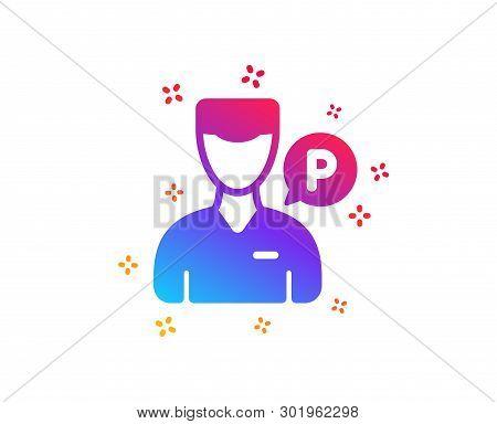 Valet Servant Icon. Parking Person Sign. Transport Park Service Symbol. Dynamic Shapes. Gradient Des