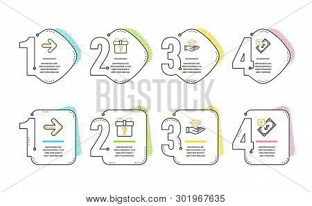 Next, Secret Gift And Leaf Icons Simple Set. Rejected Payment Sign. Forward, Unknown Package, Plant
