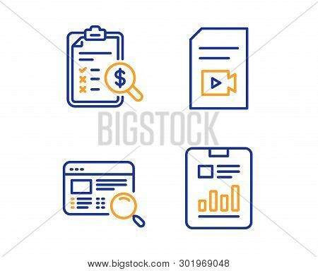 Accounting Report, Website Search And Video File Icons Simple Set. Report Document Sign. Check Finan
