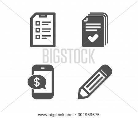Set Of Handout, Phone Payment And Checklist Icons. Pencil Sign. Documents Example, Mobile Pay, Data
