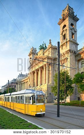 Historical Tram Passes Museum Of Ethnography In Budapest, Hungary