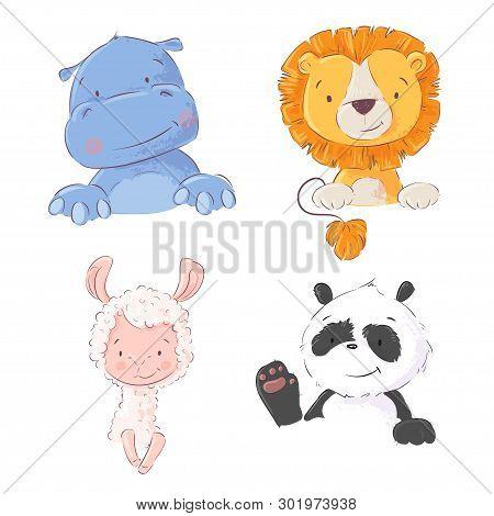 Set Of Cute Tropical Animals Hippo, Lion, Llama And Panda, Vector Illustration In Cartoon Style