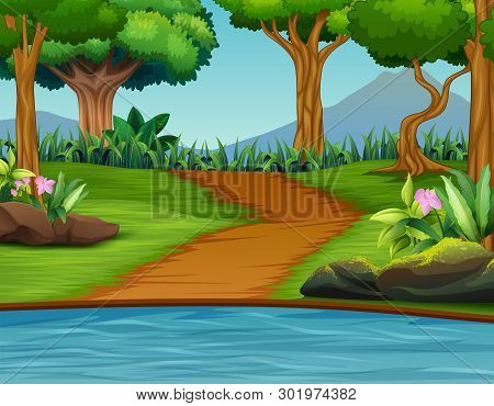 Illustration Of A Beautiful Green Nature Landscape Background