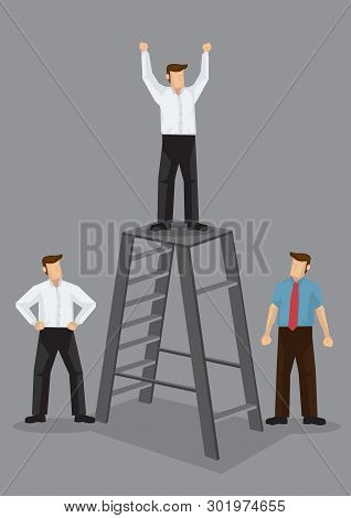 Cartoon Business Executive Stands On Top Of Ladder And Raises Hands Like A Winner With Pissed Cowork