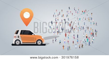 People Group Near Auto With Location Mark Car Sharing Carpooling Taxi Different Occupation Employees