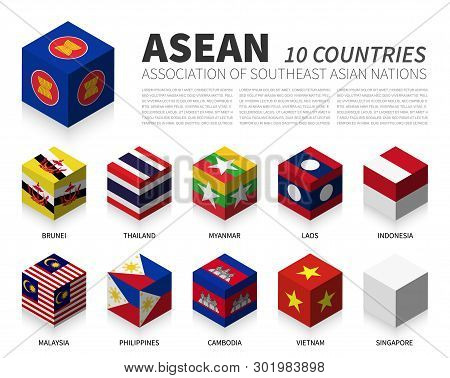 Asean . Association Of Southeast Asian Nations And Membership . 3d Cubic Flag Design . Vector