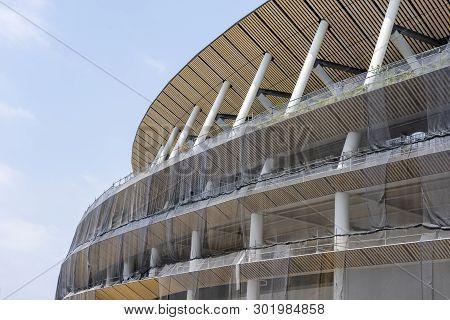 Tokyo, Japan - May 12, 2019. Construction Site Of New National Stadium In Tokyo. Japan Is Preparing