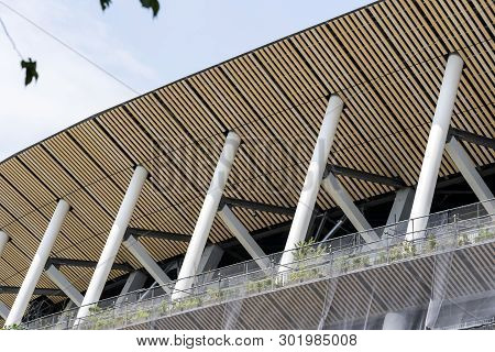 Tokyo, Japan - May 12, 2019. Closeup View Of Construction Site Of New National Stadium In Tokyo. Jap