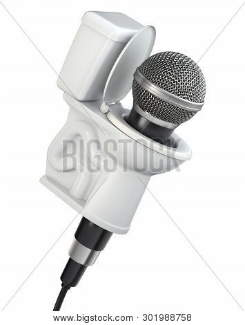 Concept With Microphone And Toilet Bowl Isolated On A White Background - 3d Illustration