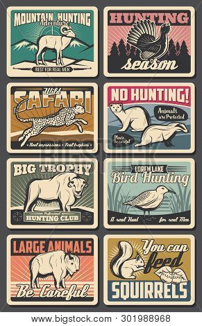 Hunting Open Season And Wild Animals Poaching Warning Vintage Posters. Vector Hunter Cub Outdoor Adv