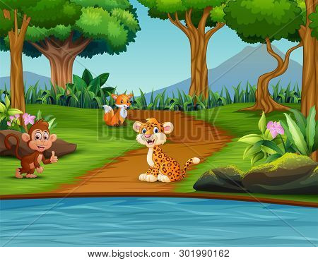 Illustration Of Forest Scene With Different Animal