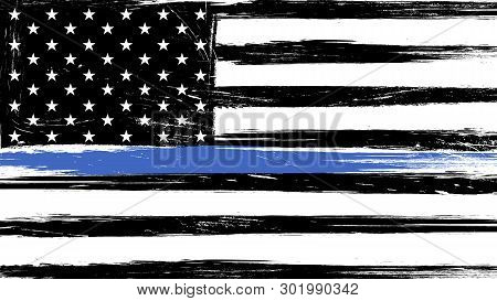 Grunge Usa Flag With A Thin Blue Line - A Sign To Honor And Respect American Police, Army And Milita